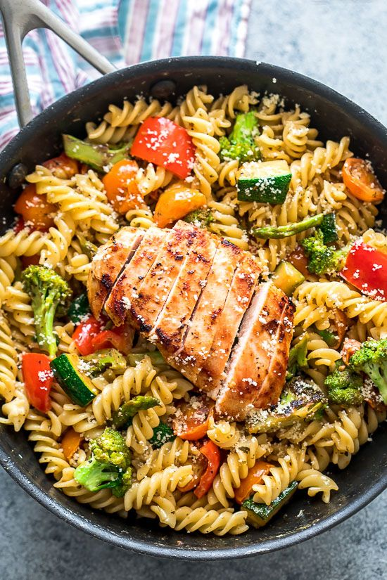 #Easy #Chicken #Pasta #Primavera is a delicious weeknight #dinner #recipe that's loaded with veggies and super simple to make!