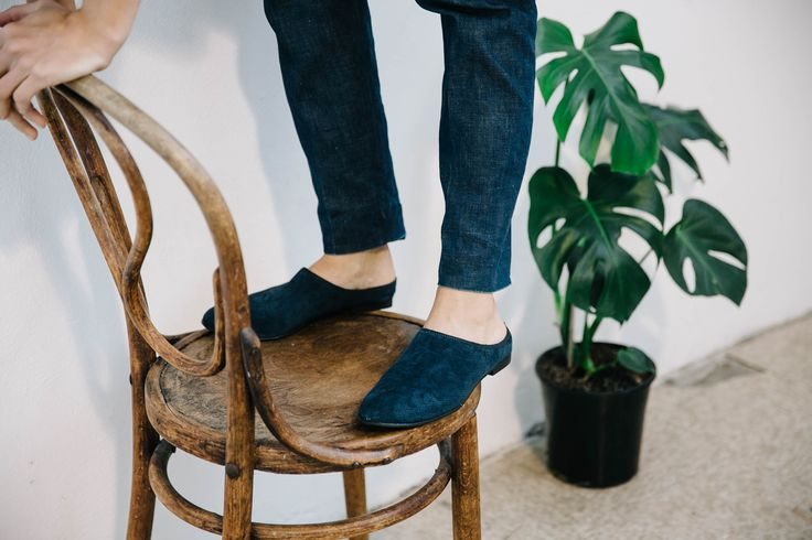 Radical Yes, Hasten Slowly, Navy Embossed Suede Photo: Holly Graham, Sevenisyellow