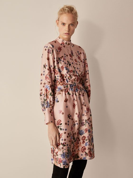 46dc18460d80 Spring Summer 2018 Women´s FLORAL PRINT DRESS WITH BUTTON DETAILS at  Massimo Dutti for 94.5. Effortless elegance!