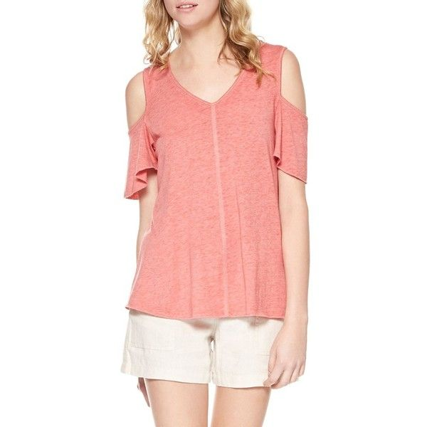 Women's Sanctuary Dahlia Cold Shoulder Tee ($49) ❤ liked on Polyvore featuring tops, t-shirts, mozambique, cut out shoulder tee, cut-out tops, cut out tee, cut out shoulder top and red cold shoulder top