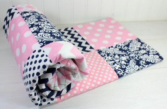 Baby Girl Blanket, Fleece Blanket, Crib Blanket, Nursery Decor, Baby Shower Gift, Baby Pink and Navy Blue Chevron, Dots, Damask and Stripes
