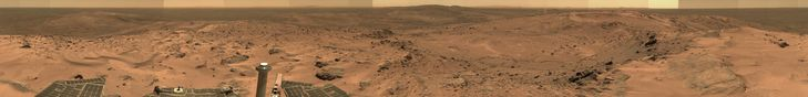 """Gusev Crater full-circle 'Everest' panorama from the summit of """"Husband Hill."""" Taken by the Mars Spirit Rover on Martian mission days Sol 620 through 622 (Oct 1-3, 2005 on Earth)."""