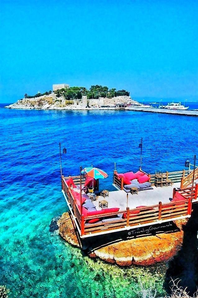 View of Pigeon Island in Kusadasi, Turkey