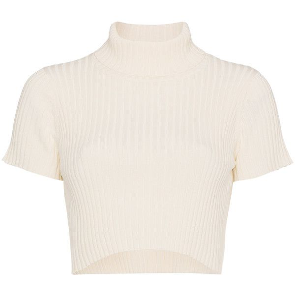 Staud Cropped Rib Top ($139) ❤ liked on Polyvore featuring tops, shirts, crop tops, white, cut-out crop tops, staud, ribbed top and white top
