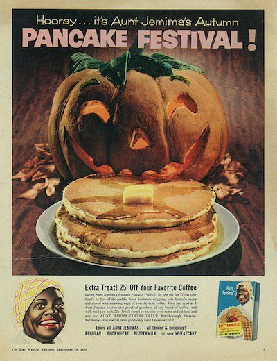 """Aunt Jemima's pancake """"40 VINTAGE ADVERTISEMENTS FOR HALLOWEEN"""" I love the illustration and the graphic of retro advertisement, always make me smile! So i selected for you 40 vintage ads for Halloween. Hope you will enjoy! Happy Vintage Halloween!!"""