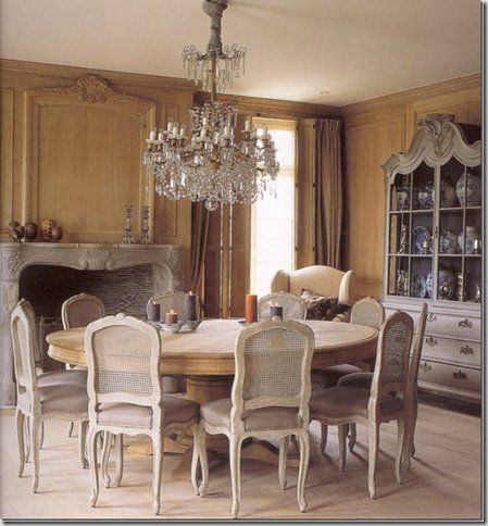 elegant neutral colors, French Provincial Dining Chairs cane back painted same as frame- Featured on Belgian Pearls Blog