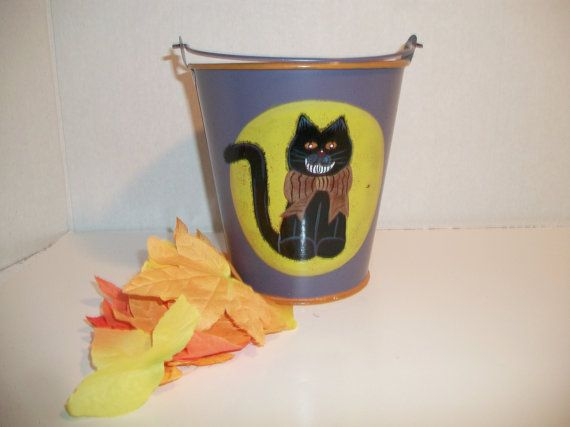 Vintage Halloween Black Cat Tin Bucket Pail by ALEXLITTLETHINGS