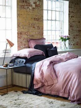 Pink and charcoal silk bed linen by Gingerlily