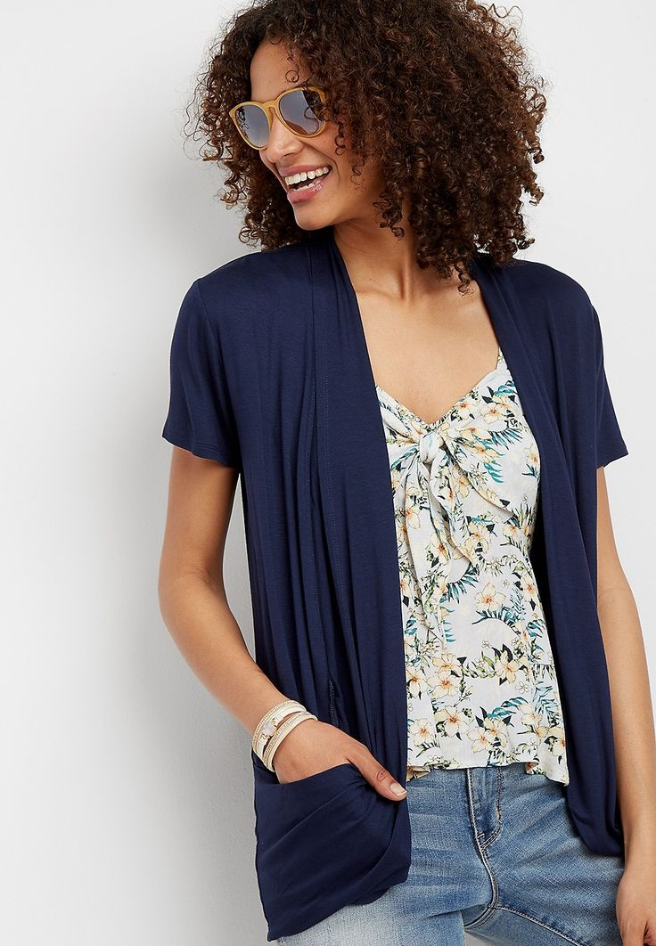 slouchy pocket short sleeve cardigan | maurices