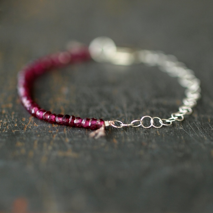 Garnet+Bracelet+Delicate+Gemstone+Sparkle+by+ShopClementine,+$68.00