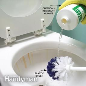 remove rust stains from a porcelain sink, tub or toilet, use a product that contains acid. no bleach,that will just make the stains tougher. Look for ingredients like hydrochloric acid, hydrogen chloride, HCL or muriatic acid If you're cleaning a toilet, remove as much water as you can to avoid diluting the cleaner. Scrub gently to avoid splatter that can be damaging. flush the toilet a few times or rinse the tub thoroughly when you're done