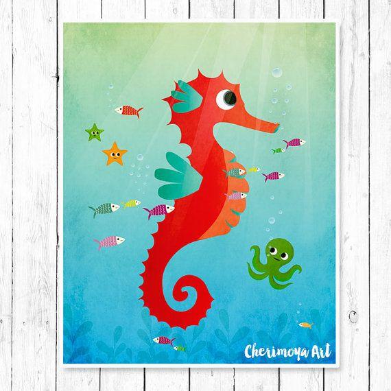 Seahorse Nursery Art Animal Nursery Print Ocean by CherimoyaArt