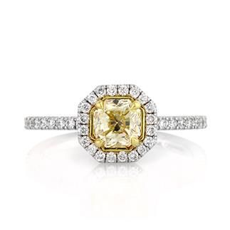 1.17ct Fancy Light Yellow Radiant Cut Diamond Engagement Anniversary Ring