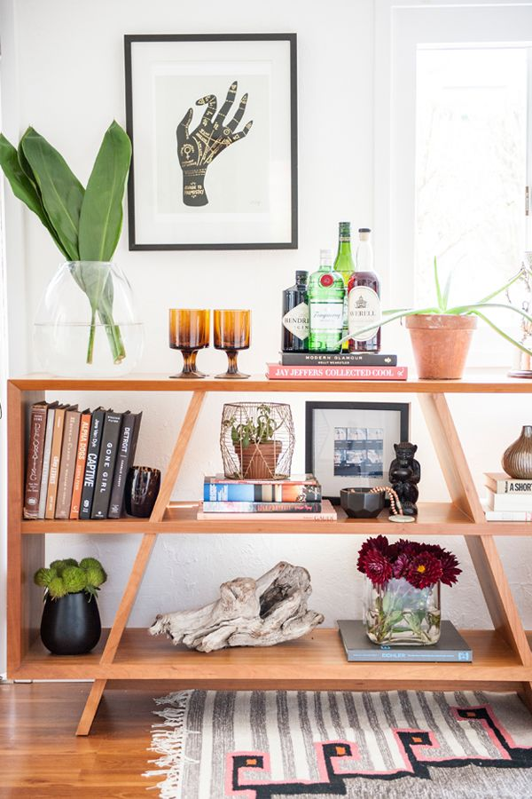Styled shelving in a space space solution for cocktail bar. Ashley Redmond - The Tiny Treehouse - Interior Designer