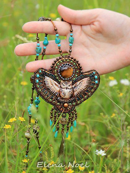 Купить Лесная сова длинный кулон - коричневый, сова, кулон с камнем, кулон с совой, совушка
