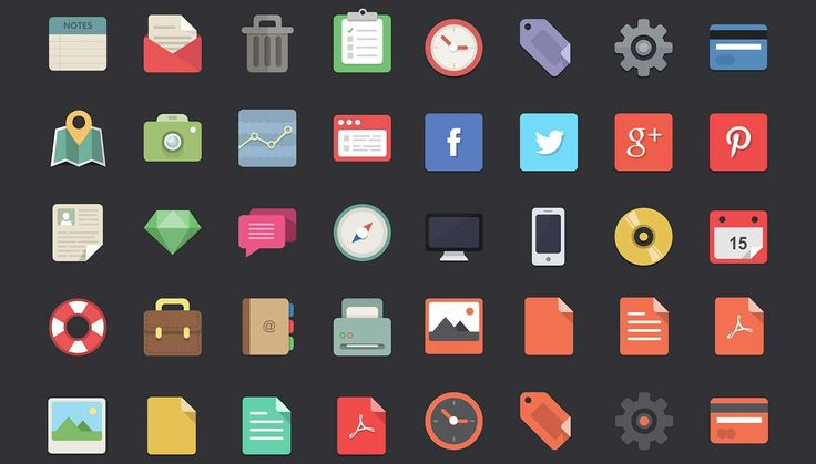 Free download: 48 flat designer icons   Webdesigner Depot