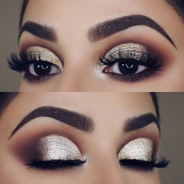 Champagne Glittery Eyes Makeup Idea