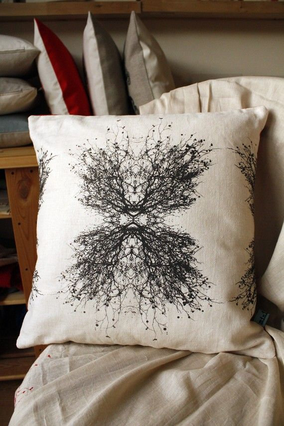 Tree branches silk screened pillow by minimonos:Love trees, and the ability to make this repetitive.