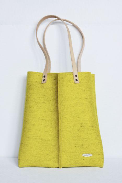 Velká taška z přírodní plsti žlutá
