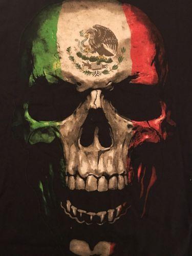 Para Hombres Bandera mexicana Cráneo Fifth Sun Camiseta Medio chicano Lowrider