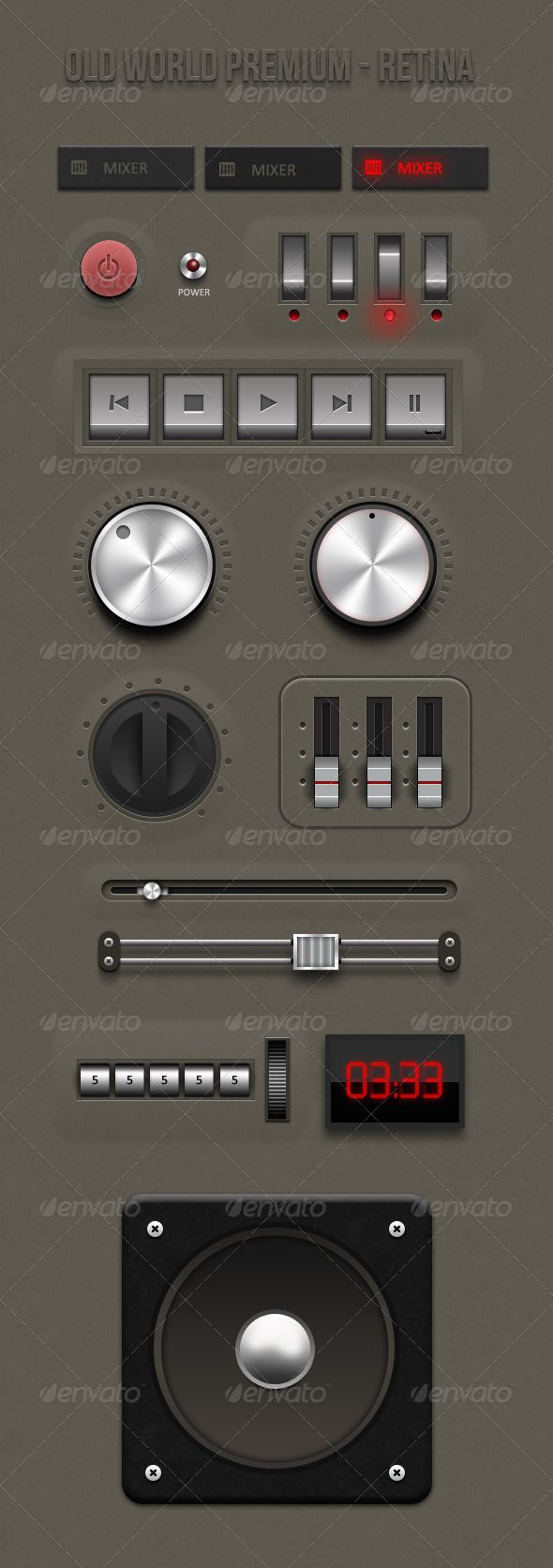 Retina - Old World Premium ui kit - GraphicRiver Item for Sale