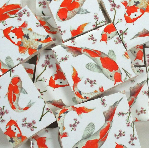 Ceramic Mosaic Tiles  Asian Koi Fish Cherry by WhereGypsiesRoam