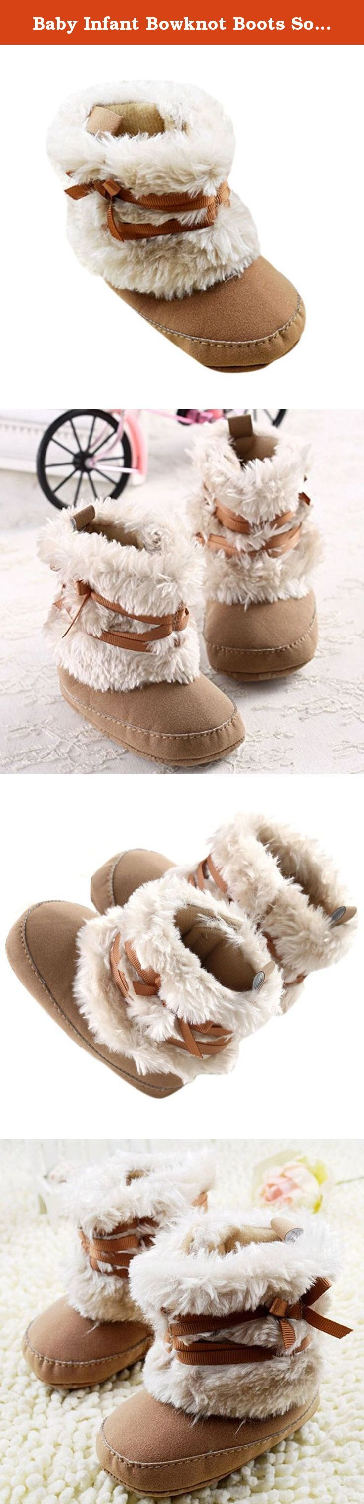 """Baby Infant Bowknot Boots Soft Crib Shoes Toddler Warm Fleece Prewalker 0-18M (Medium(6-12 Months), Khaki). Size Small: Sole Length 4.72"""", Sole Width 2.17"""", Height 3.94"""" Size Medium: Sole Length 5"""", Sole Width 2.36"""", Height 4.33"""" Size Large: Sole Length 5.31"""", Sole Width 2.56"""", Height 4.72"""" Package included: 1 x boots(without box) Attention Please: About Size: Item Measure by hand, it could be 2-3cm different. Asian size is smaller 1 or 2size than US/EU Size, please check the size detail..."""