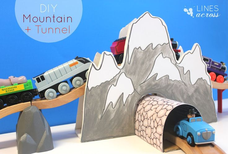 Make Your Own Train Tunnel and Mountain (on foam core or cardboard). #kids #crafts