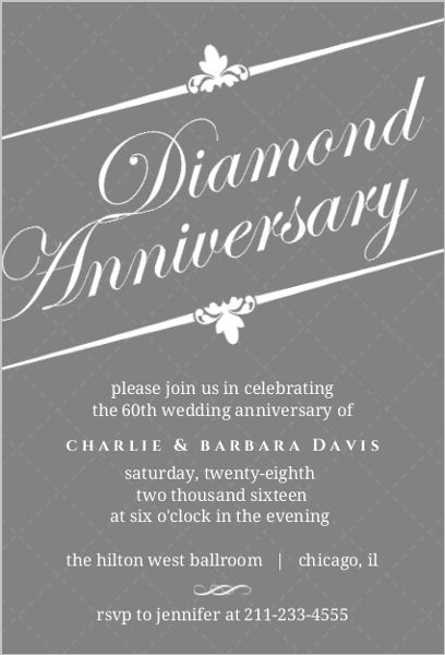 16 best 60Th Wedding Anniversary Invitations images on Pinterest - anniversary invitation