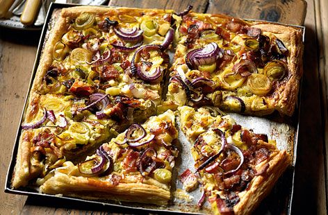 Puff pastry tart with Gruyere and bacon!!  Ummmm!