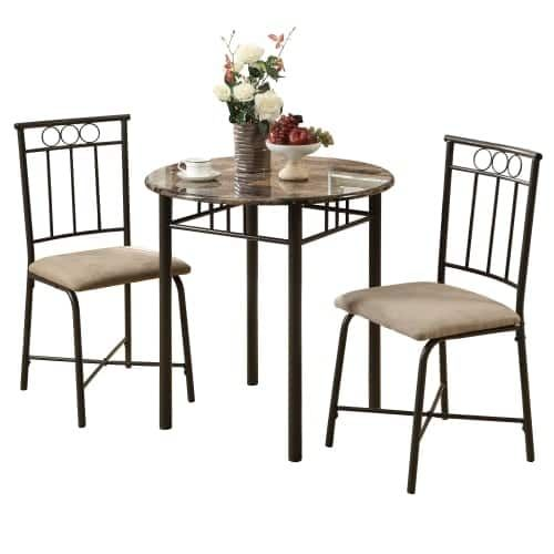 Monarch Specialties 2 piece bistro set I 3 Piece Bistro Table and Chairs Set (Cappuccino Finish)
