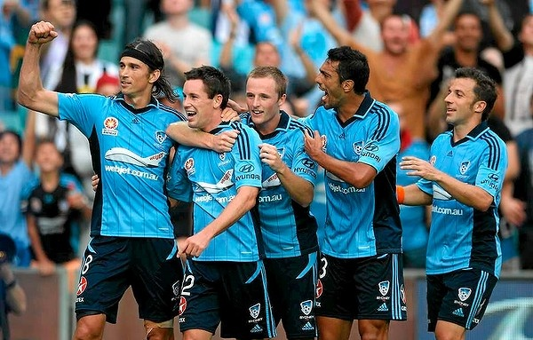 Blake Powell is congratulated on scoring the winner in Sydney FC's 2-1 victory over Adelaide in Rd 21.