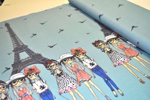 Kinderstoffe - we ♥ JERSEY MÄDCHEN PARIS GIRLS NEU VÖGEL EIFELTUR - ein Designerstück von LalaundFluse bei DaWanda