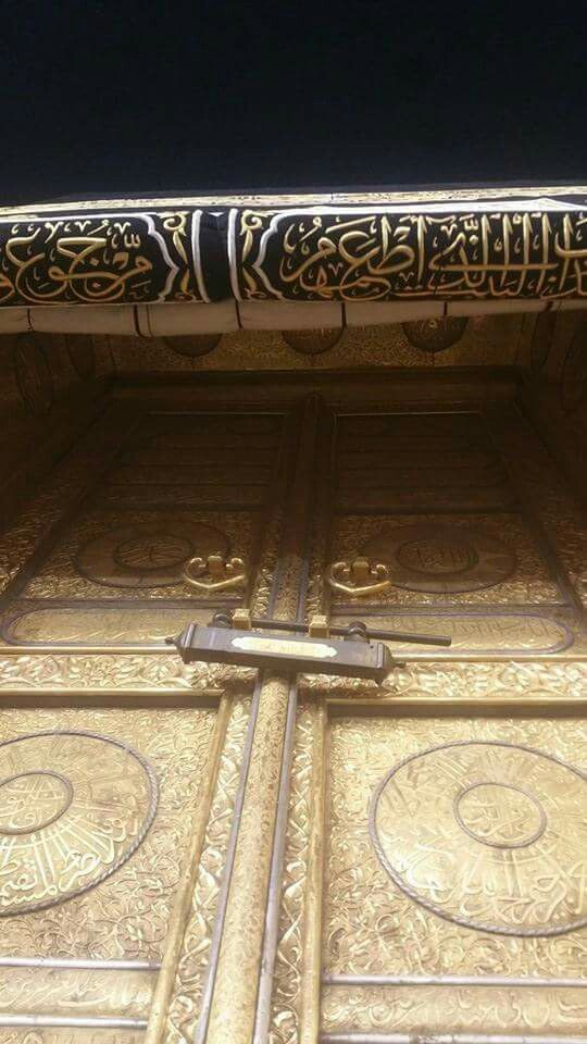A stunning  close up of the kabah door #Mecca