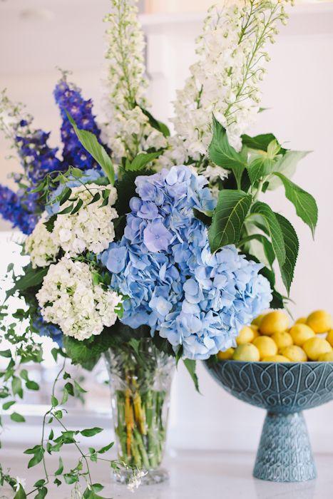 Large blue and white arrangement blue hydrangea