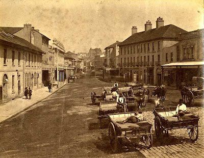 George Street, Sydney c 1880 showing stone paving prior to woodblocks