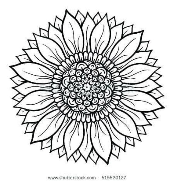 Sunflower Mandala Svg In 2020 Sunflower Coloring Pages Mandala
