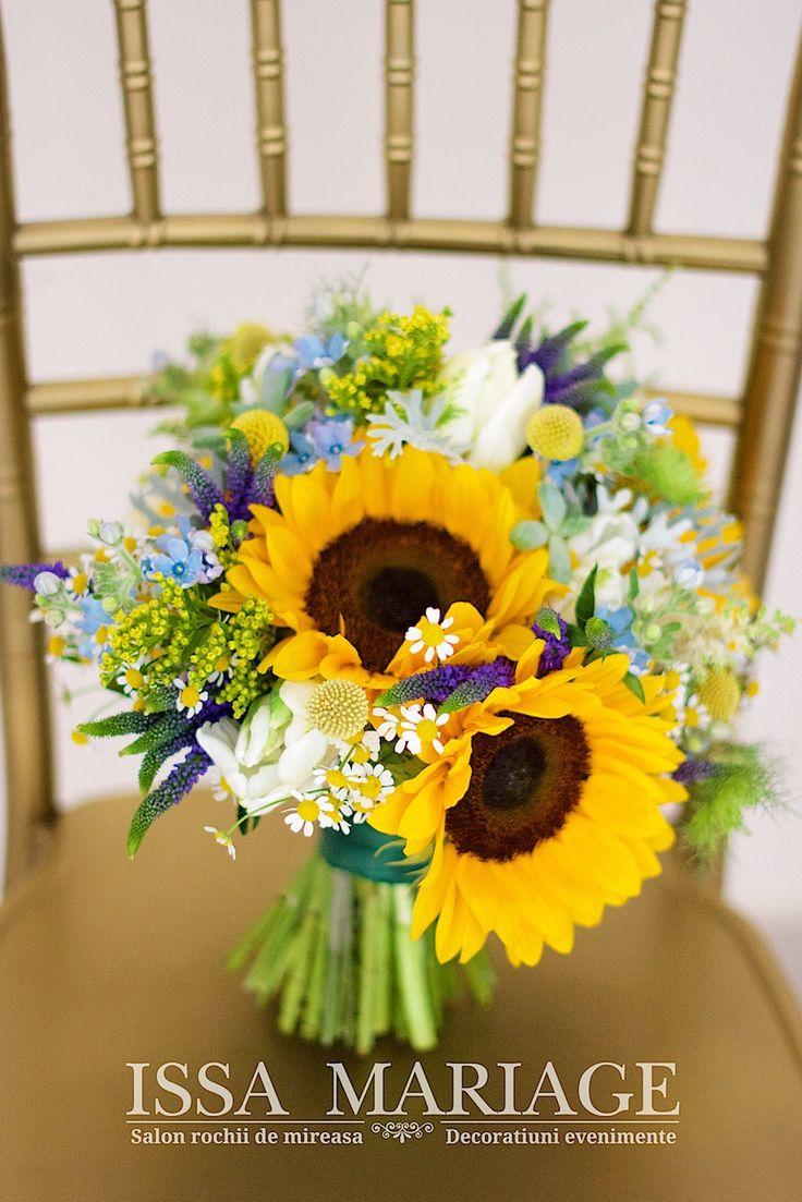 buchet floarea soarelui mireasa