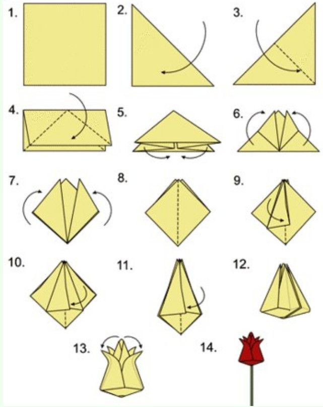 Цветок оригами на открытку