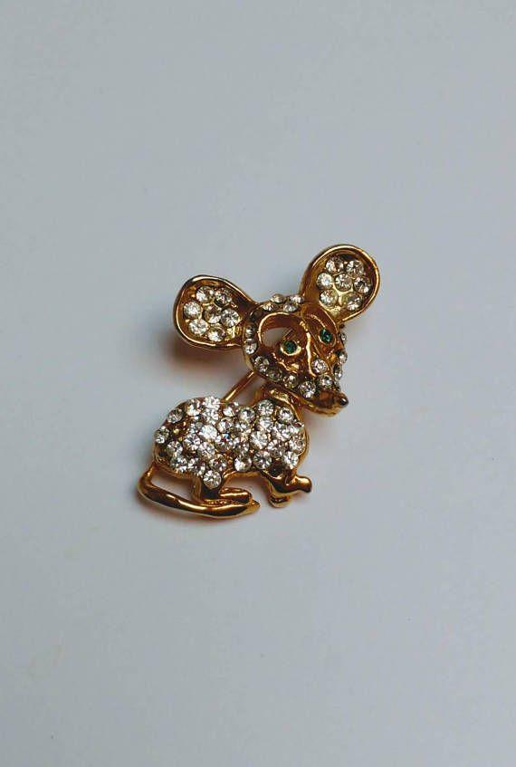 Bekijk dit items in mijn Etsy shop https://www.etsy.com/nl/listing/557087441/vintage-rhinestone-mouse-brooch