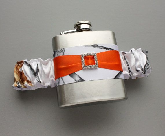 White Camouflage FLASK GARTER Snow Camo & by MoonshineBelle