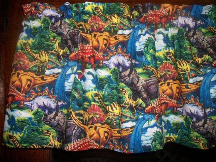 Dinosaurs Animals Childrens Boys Bedroom Fabric Curtain Window Topper  Valance