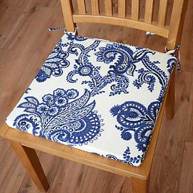 Modern Style 100% Cotton Blue Floral Pattern Chair Pad – AUD $ 18.18