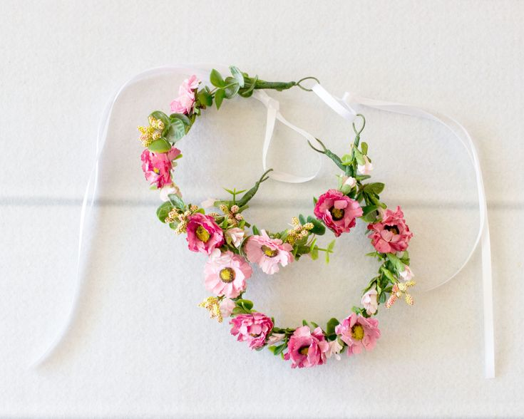 Pink Flower Crown, Child Flower Crown, Baby Flower Crown
