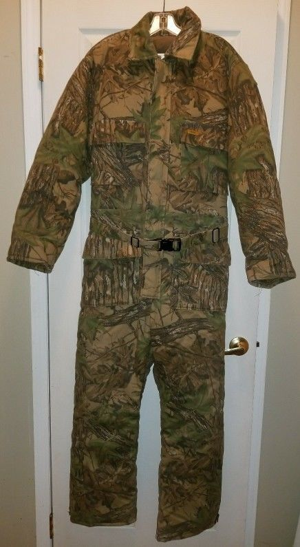 EUC Men Duxbak camo insulated coverall SZ 42-44 LG regular hood hunt scent sale! #Duxbak