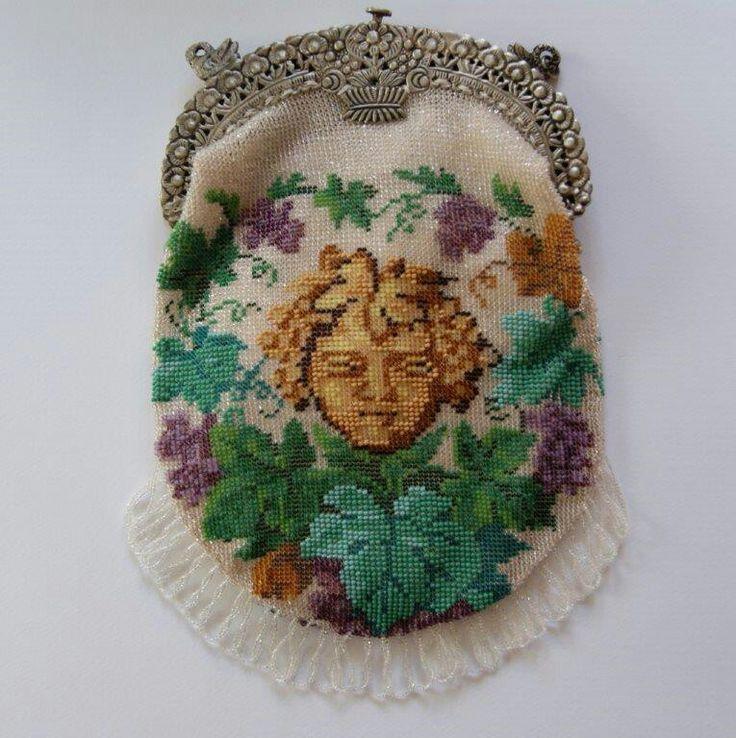 Bacchus  Frame Ludwig Neresheimer & Co Hanau am Main. ANNO 1890 Handmade bead knitted by Tineke Nieuwenhuijse