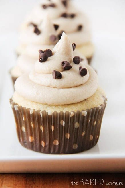 Chocolate Chip Cupcakes with Cookie Dough Buttercream by The Bakeer Upstairs