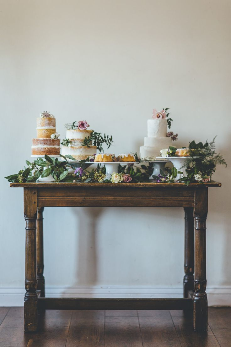 Dessert Table with Naked Cakes & Donuts | Bridal Inspiration Shoot | Boringdon Hall Hotel Devon | Afternoon Tea Theme  | Styling By Inspire Hire | Images by Ross Talling | http://www.rockmywedding.co.uk/an-enchanted-place-on-the-hill/