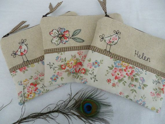Handmade Cosmetic Makeup Bag or Large Purse with option to personalise, Choice of Hen or Flower Applique, Cath Kidston Stone Kew Rose fabric