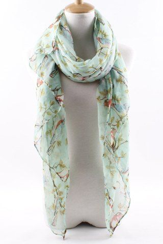 Chic Branch and Bird Pattern Scarf For Women